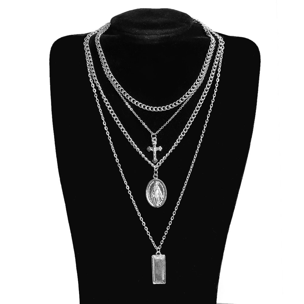 1PC Women Charm Bohemia Cross Pendant Necklace Choker Bib Multilayer Gold&Silver Chain Necklace For Women Fashion Jewelry