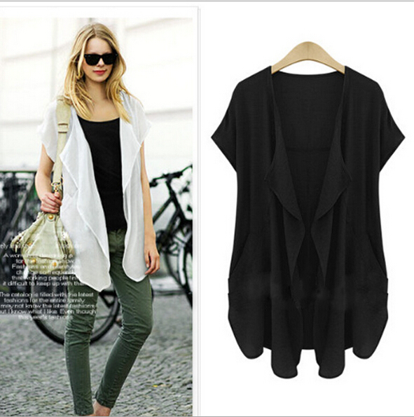 9dfc3be5d Sheer Plus Size Kimono Cardigan Summer Style Black White Short Sleeve  Womens Tops Fashion 2015 New Arrival 3XL 4XL 5XL A2371-in Blouses & Shirts  from ...