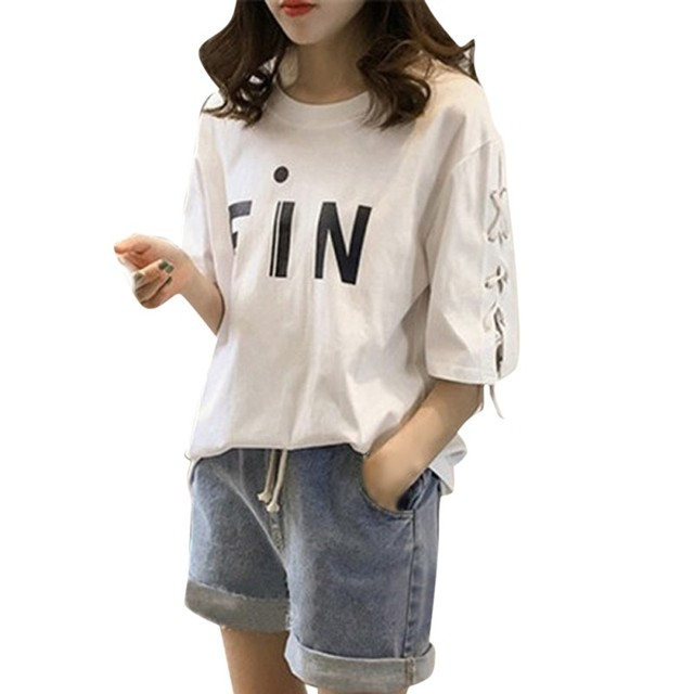 ecc8ef7a Women Girls Fashion Summer Casual Bandage T Shirts Loose Half Sleeve Tops  Shirts New White Tees Plus Size