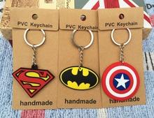 IVYYE 1PCS Superman Batman Logo Anime Key Chain PVC Figure Morty Keyring cute Toys Keychain Keyholder Birthday Gifts Unisex NEW