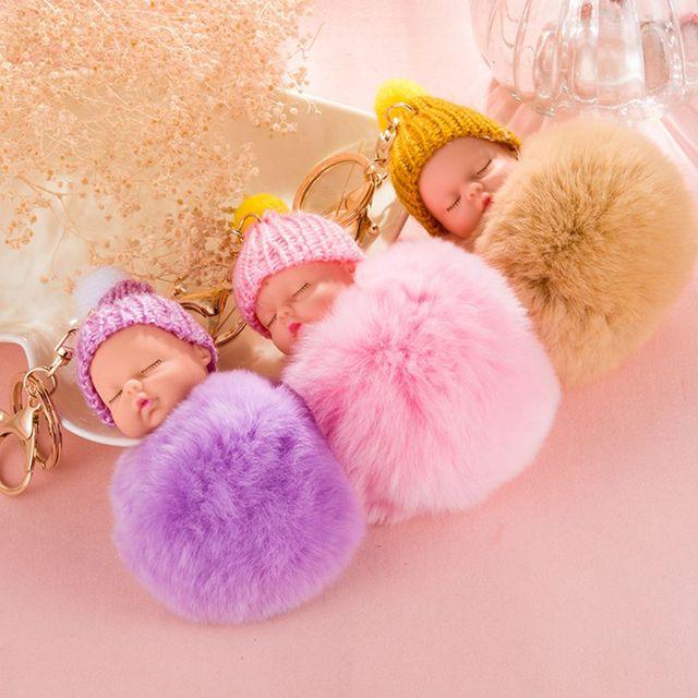 Bonito Chaveiro Coelho Faux Fur Pom Pompom Fofo Bebê Dormindo pon Chapéu Feito Malha Do Bebê Boneca Keychain Car Chaveiro Toy Ano Novo presentes