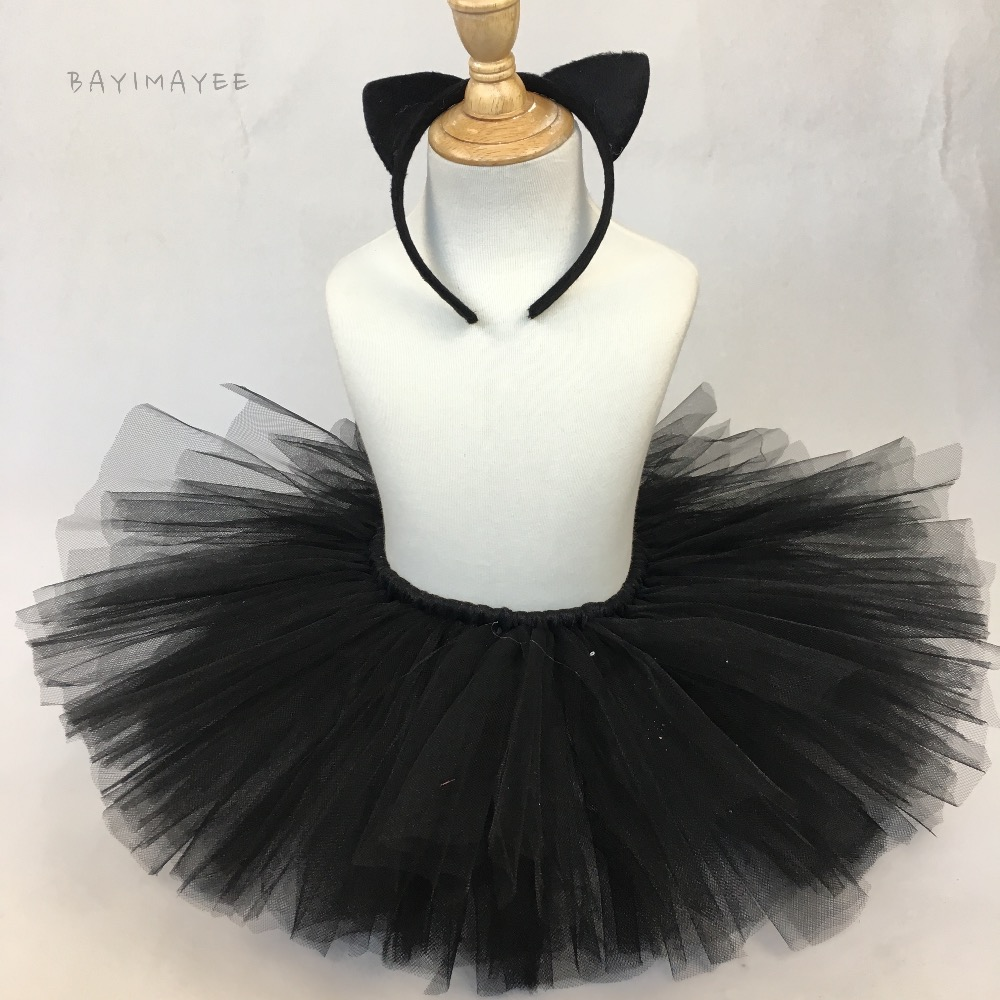4883d59797 Cute Baby Girls Black Cat Tutu Skirts Kids Fluffy Tulle Tutus Ballet  Pettiskirts with Hairbow Kids Party Costume Cosplay Skirt-in Skirts from  Mother   Kids ...