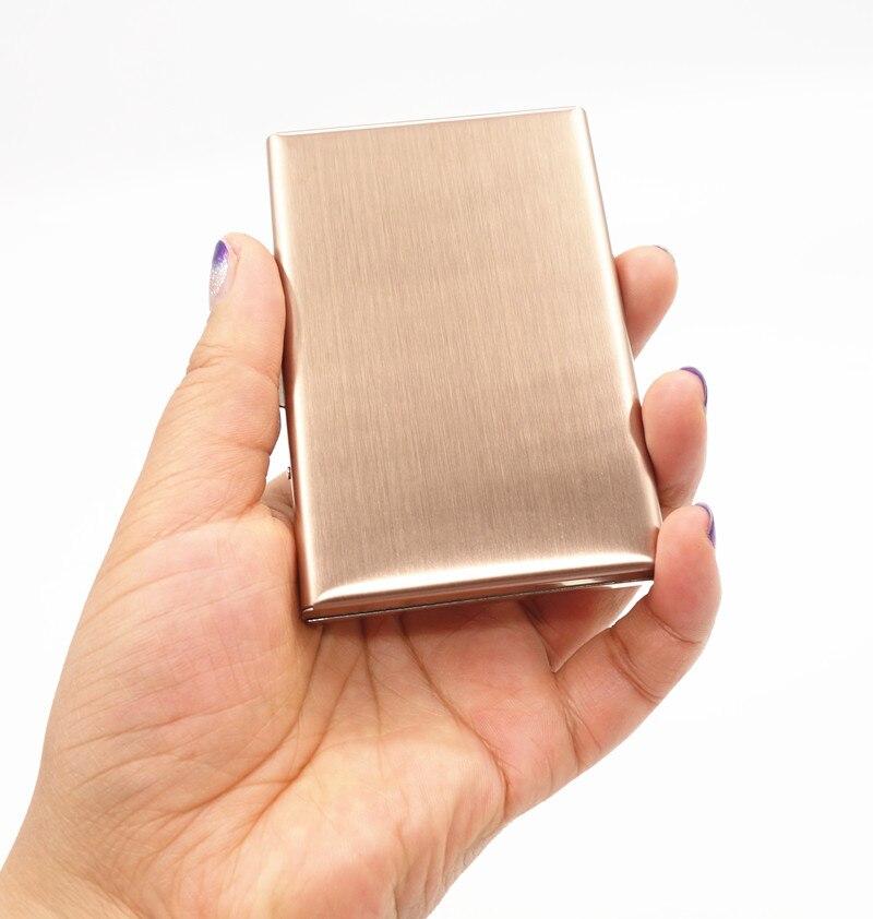 High-Grade stainless credit card holder women metal bank card case card box rfid card wallet ROSE