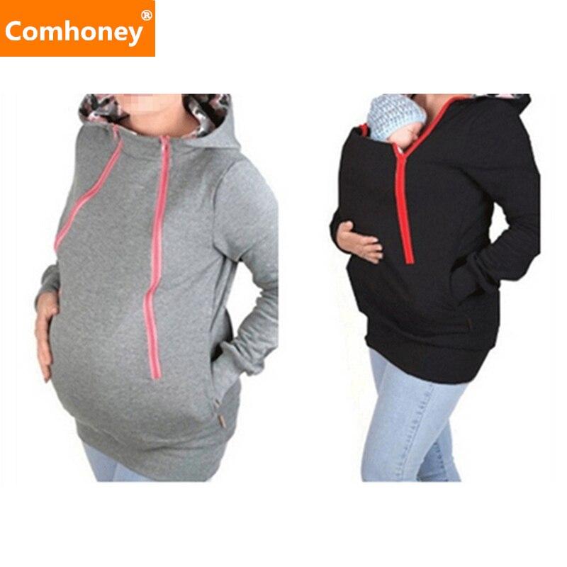 2 W Ciążowa Kurtka Pokrywa Kangur Jesień 1 Nosidełko Wielofunkcyjny qBU1Inwx