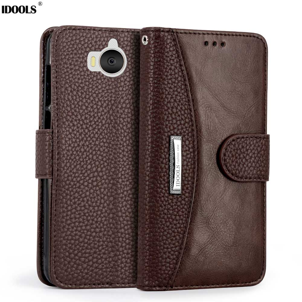 for Huawei Y5 2017 Case IDOOLS Original Wallet Covers PU Leather Dirt Resistant Phone Bags Cases for Huawei Y5 2017 5.0''
