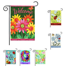 Mini Yard Banner Garden Flag House Decor Festival Decorative Flag Fashion Flowers Flag Outdoor Indoor Home Decor Supplies(China)