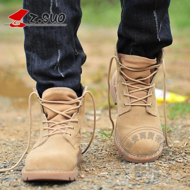 2015 Nova Moda Casual Calcanhar Plana Elástico Cowboy Mens inverno botas de Deserto Botas de Segurança do Trabalho Funky Britânico Estilo Bandagem Vaca camurça