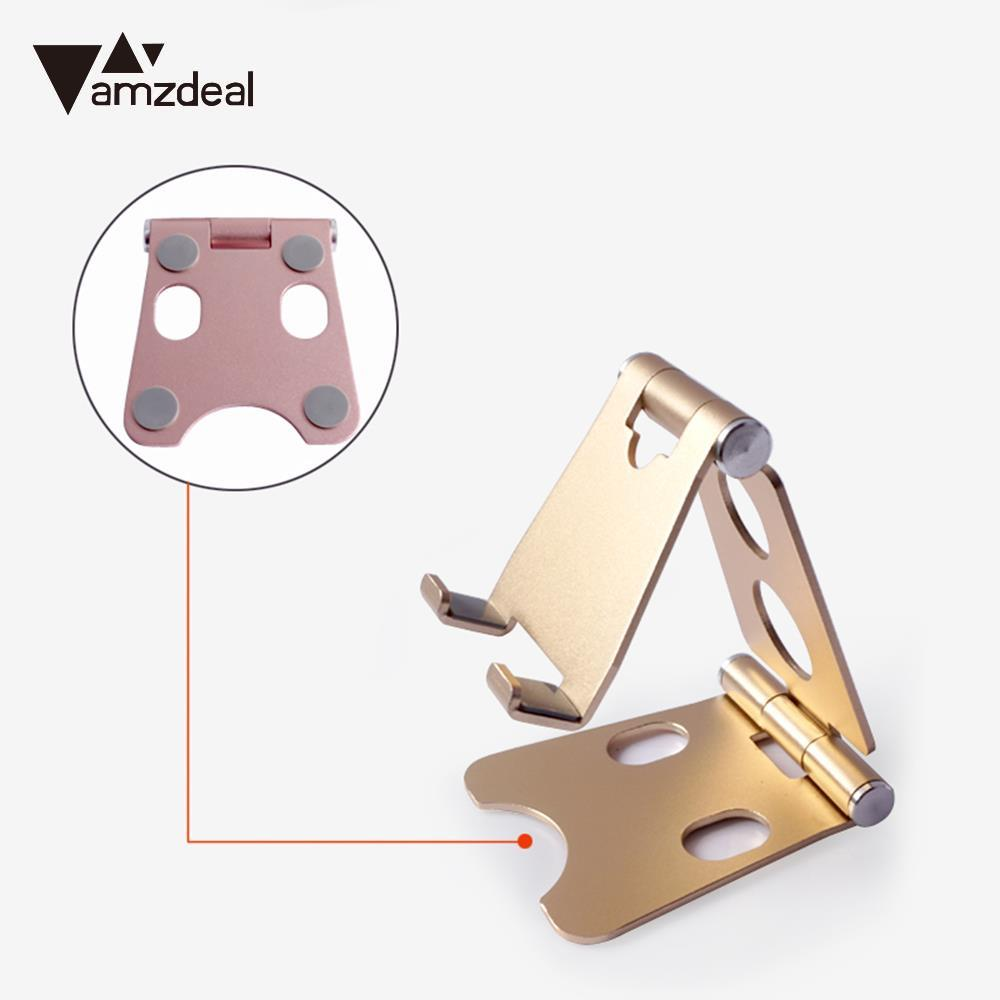 где купить AMZDEAL Fashionable Convenient Aluminium Alloy+Silica Gel Multi Colors Foldable Desktop Stents Tablet Bracket Mobile Phone Stand дешево