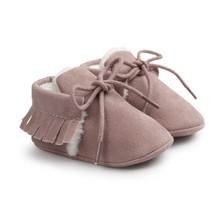 Boy Girl Shoes Newborn Baby Moccasins Fringe Soft Soled Non-slip Footwear Crib PU Suede Leather First Walker New