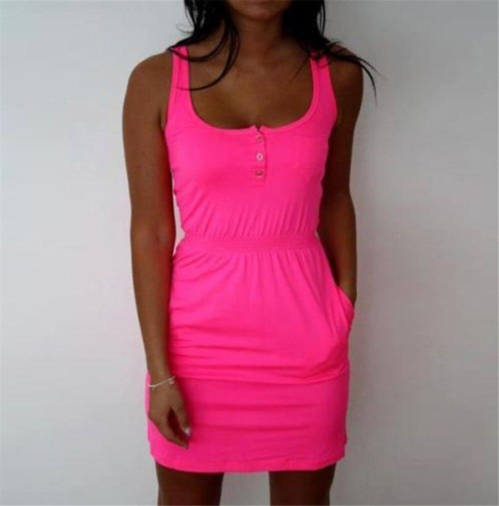 2018 attrayant femmes Robe couleur Fluorescent Élastique Taille Lady Casual Sans Manches Summer Beach robes Plus La Taille s-5xl