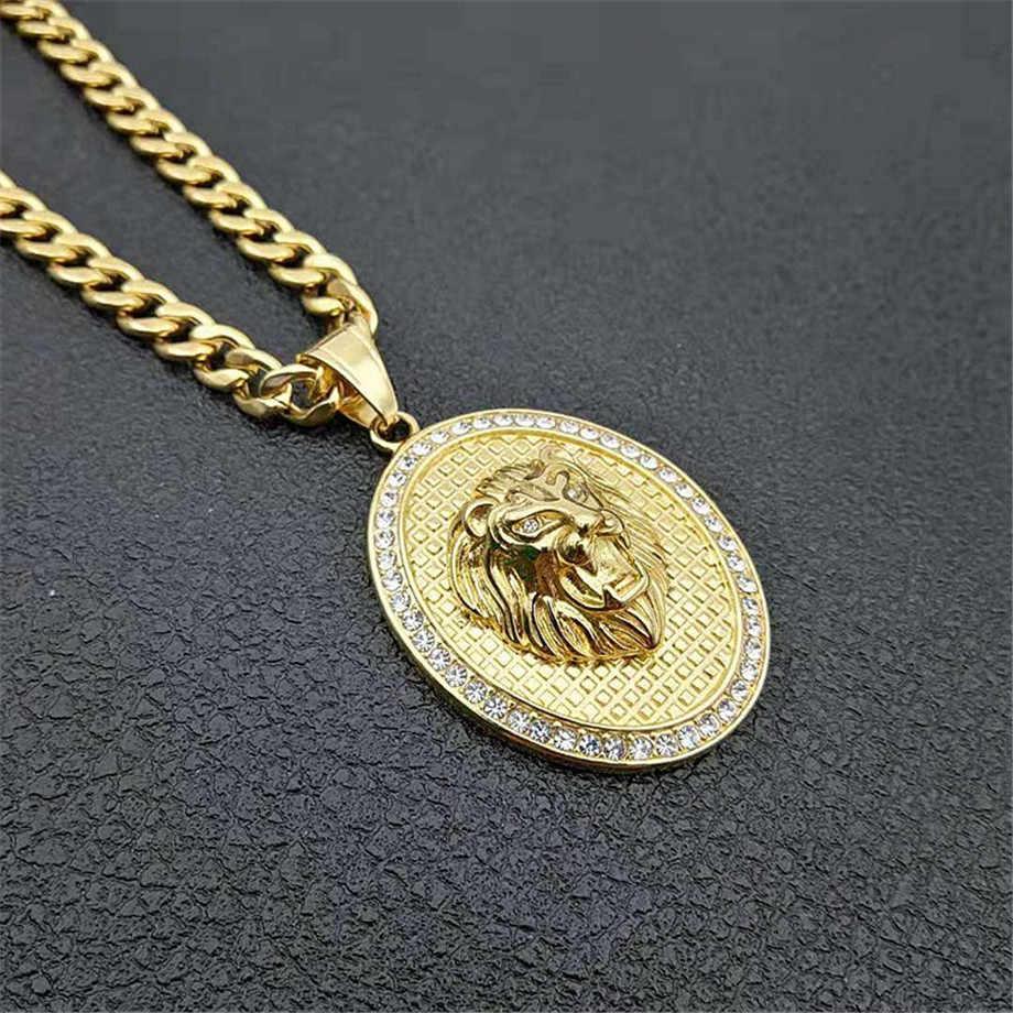 Religijne ze stali nierdzewnej wisiorek z Maryją naszyjnik kobiety biżuteria Christian złoty kolor Iced Out Madonna naszyjnik DropShipping