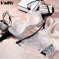 VSIHZ transparente Sexy lace bordado conjunto de sutiã confortável moda bra 3/4 xícara destacável alça de ombro único grande sutiã terno