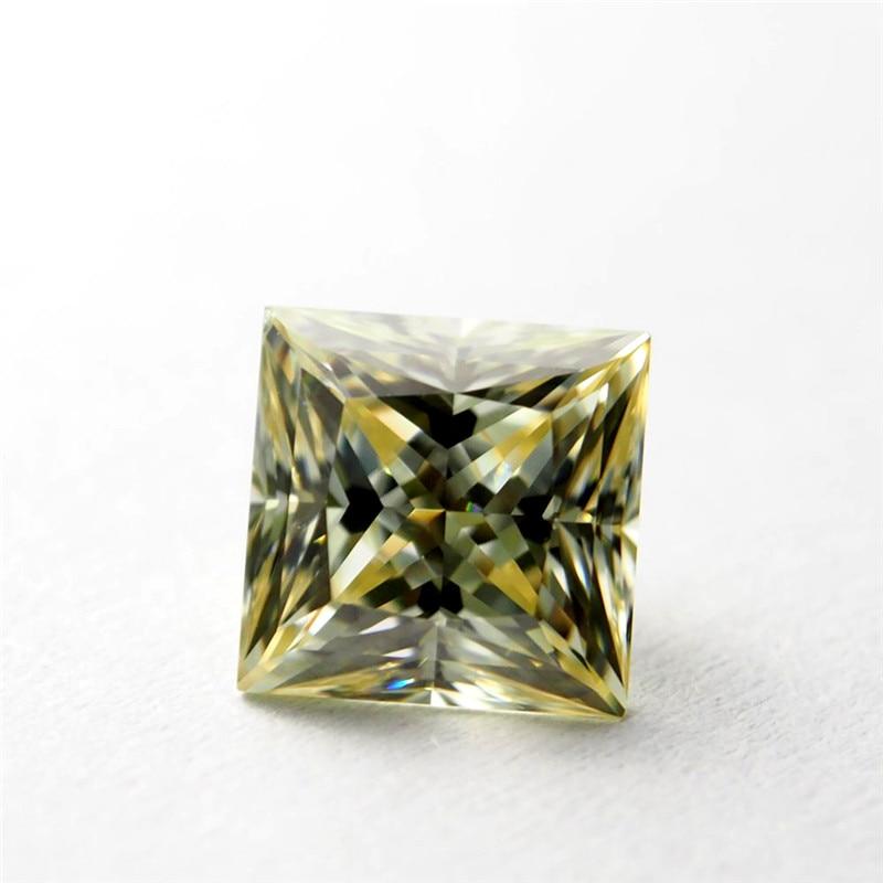 5*5mm princesse coupe jaune Moissanite pierre lâche Moissanite diamant 0.71 moissanite pierre