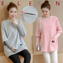 Maternity Clothes Breastfeeding Tops Nursing Top Long Sleeve Maternity Hoodie Sweater Autumn Spring Outerwear Nursing Shirt C072