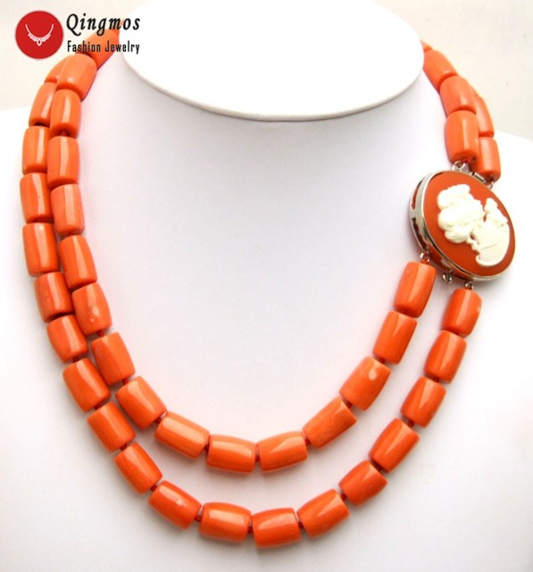 """Qingmos Natural Orange 2 Strands Coral Necklace for Women with Genuine 10-12mm Thick Slice Coral Chokers Necklace 18"""" Jewelry"""