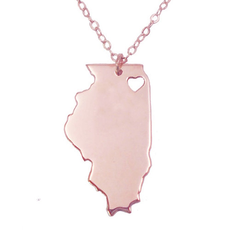 12pcs/lot USA Map Fashion Jewelry Geometric Silver Plated Illinois State Charm Necklace  ...