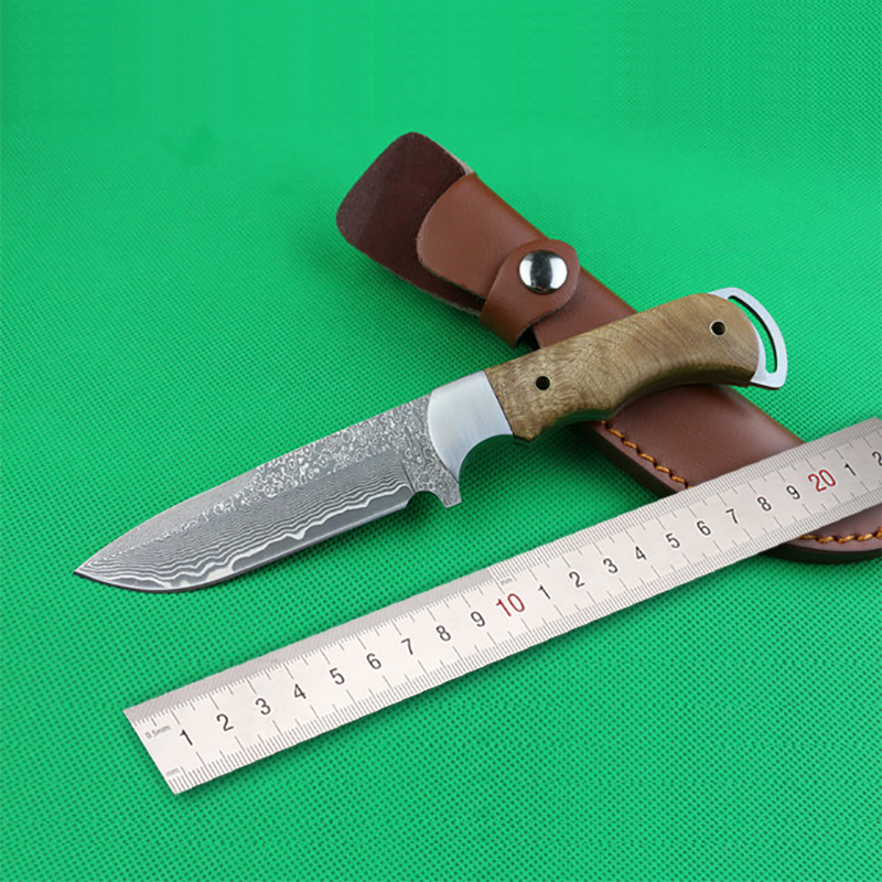 Free shipping Handmade Forged Damascus Hunting Knife Camping Survival Knife Fixed Blade Tactical Knife wood Hanlde цена 2017