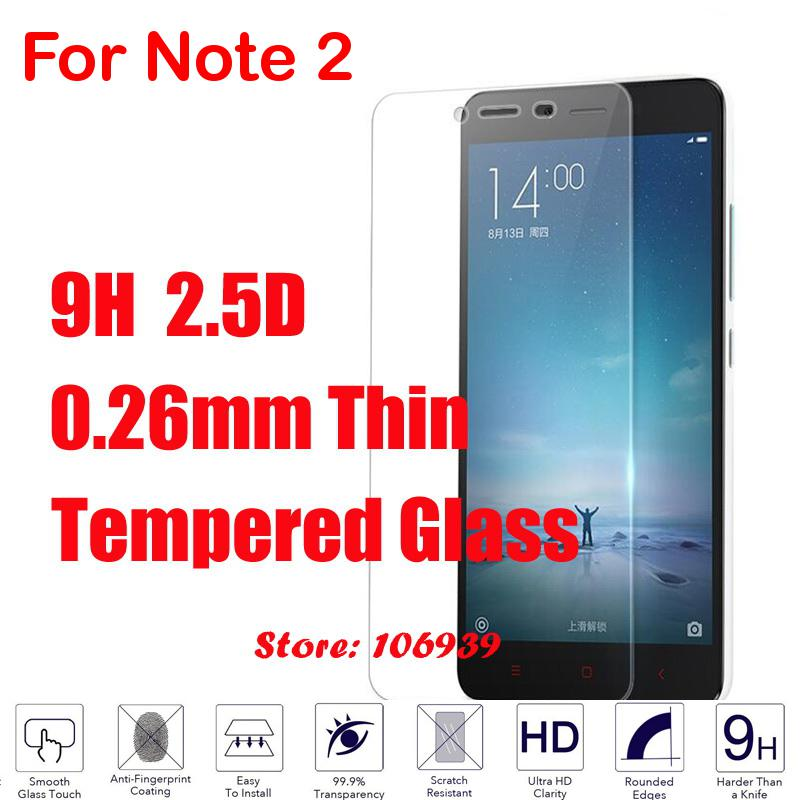 New 9H 2.5D 0.26mm Phone Mobile Cell LCD Display Accessories Tempered Temper Glass For Xiaomi Xiomi Xiamo Redmi Note 2 Note2