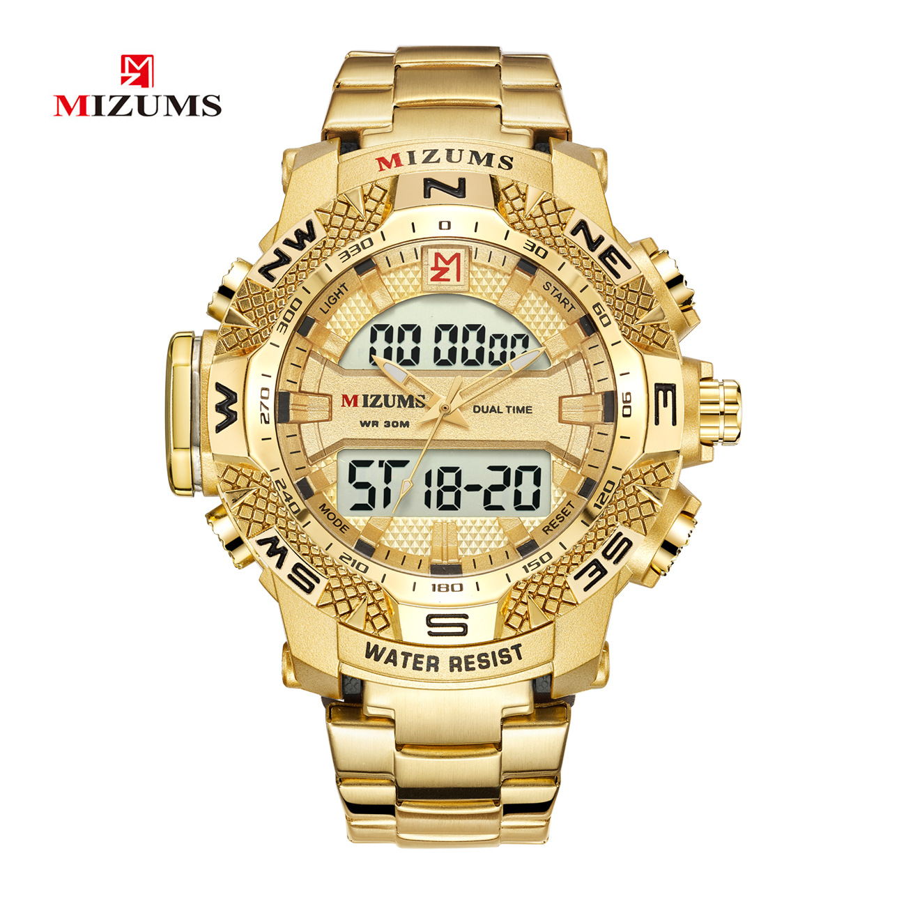 Gold Mens LED Digital Watches Military Sports Watches Waterproof Alarm Men Stainless Steel Quartz Wristwatches Relogio Masculino