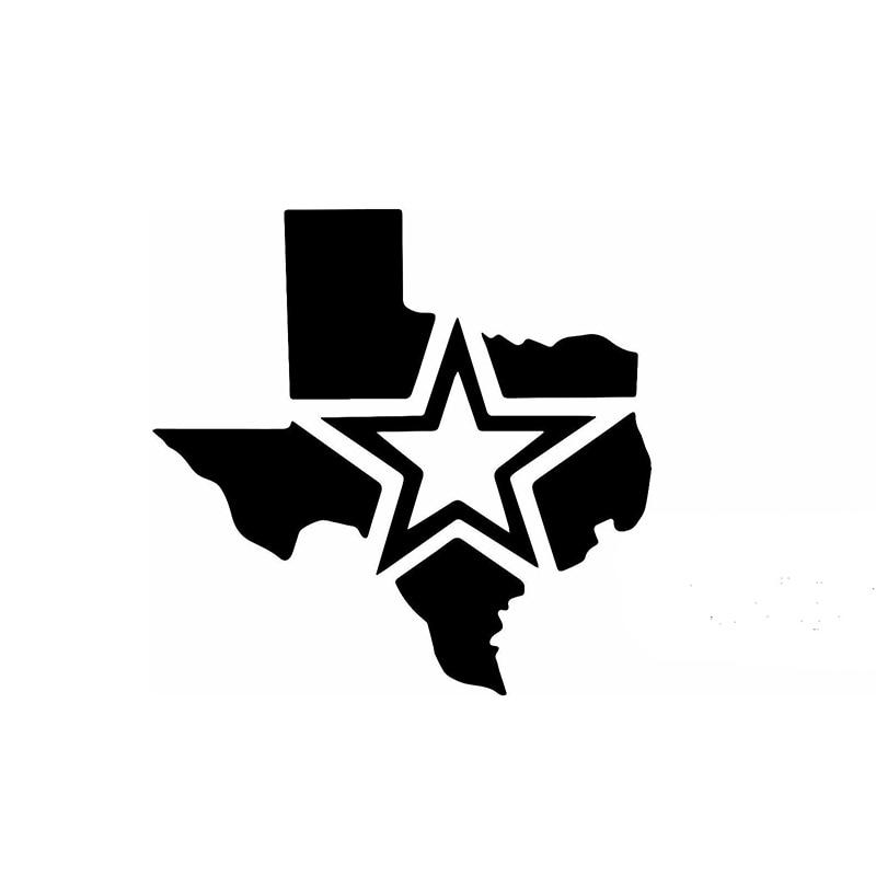 15cm x 15cm Star Of Texas Map Funny Car Sticker For Truck Window Bumper Auto SUV Door Laptop Kayak Vinyl Decal