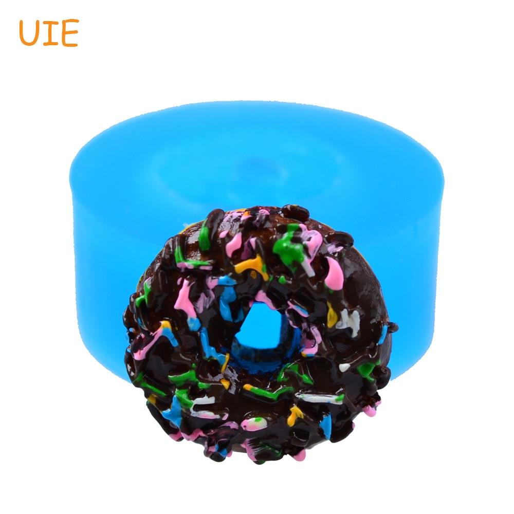 TYL003U 14,7mm Donut/Donut con rociadores molde de silicona-comida en miniatura, postre, Fondant, galleta de galleta, molde de Chocolate