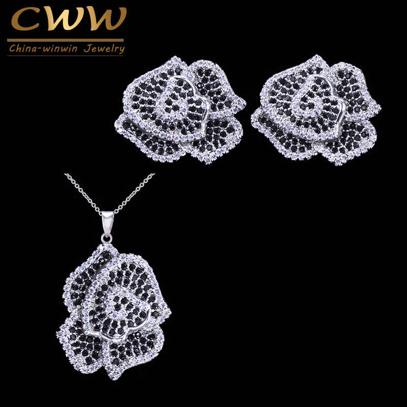 CWWZircons Micro Paved Black White CZ Stones Vivid Flower Fashion Women 925 Sterling Silver Earrings Necklace Jewelry Set T155