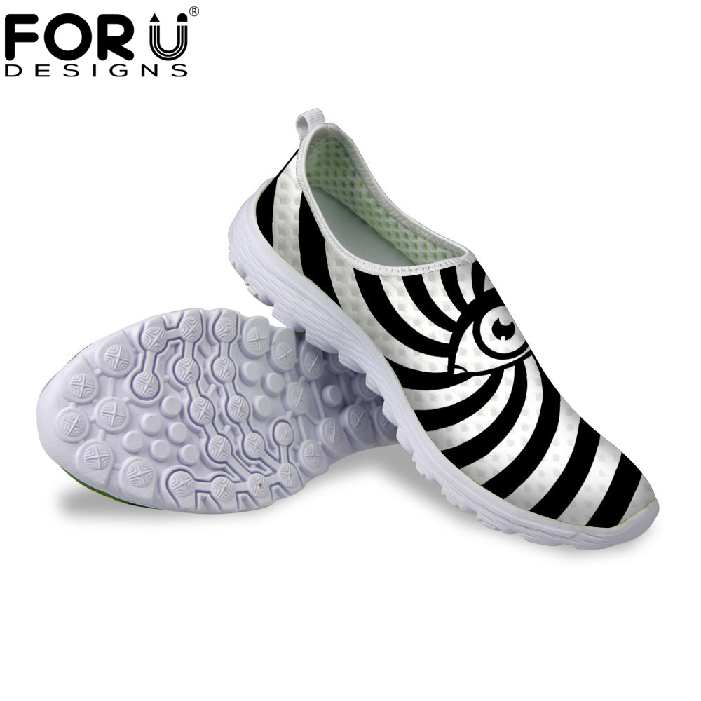 FORUDESIGNS Shoes Woman 2017 Summer Casual Flats Shoes 3D Black Eyes Prints Breathable Mesh Shoes for Women Ladies Loafers Flat forudesigns 3d fruit pattern autumn casual shoes flats woman light breathable lace up flat shoes for ladies women leisure shoe