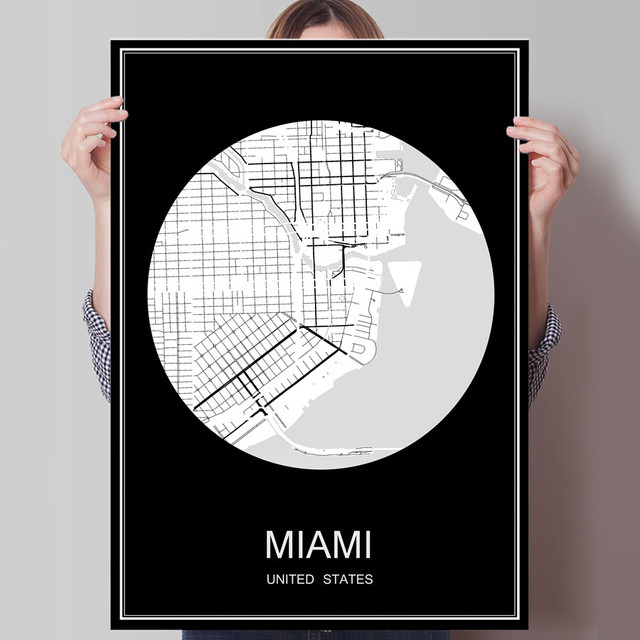 Miami usa abstract famous world city map print poster print on paper or canvas wall sticker