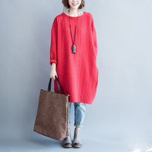 P Ammy Winter Warm Plus Size Bawting Sleeve Padded Cotton Jumper Dress  Thickened cotton Solid Crew 02715cd56467