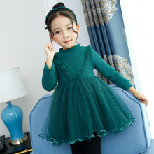 Girls Winter Dress 2018 Autumn Fall Knit Long Sleeve Teen Korean Princess Christmas 3 4 5 6 7 8 9 10 11 12 Year Dress цена и фото