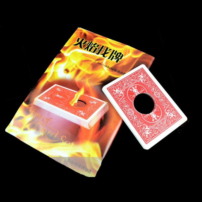 Fire Cards Set Flame Fire Find Card Coins Through Cards Illusion Gimmick Close-up Stage Magic Trick Props for Magician Free Ship