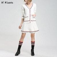 High Quality Luxury Brand 2017 Autumn Fashion 2pcs Women Set Long Sleeve Thin Cardigan And Skirt