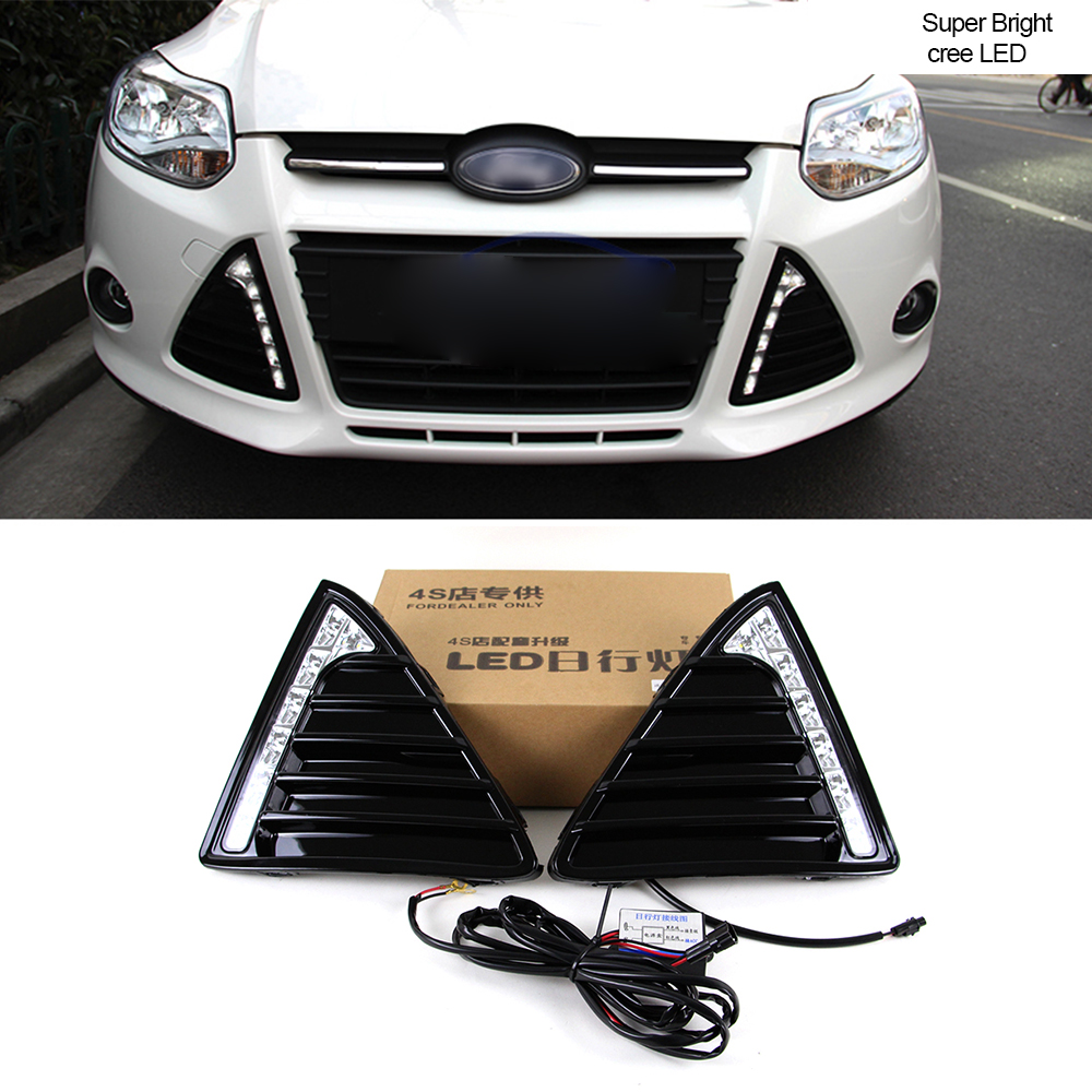 Car DRL KIT For Ford Focus 3 2012 2013 LED Daytime Running Light bar Relay auto fog lamp super bright daylight for car led drl