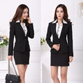 New 2017 Spring Autumn Formal Female Skirt Suits for Women Work Wear Ladies Blazer Sets Office Uniform Styles Black