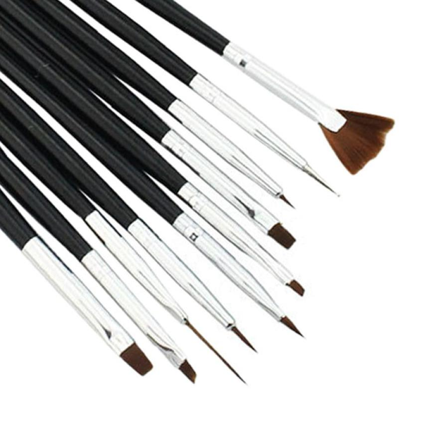 SALE 2018 10PCS Professional Nail brush Set Acrylic Nail Art Makeup Tools Painting Pen Tips Fan Brush Pincel Maquiagem Black