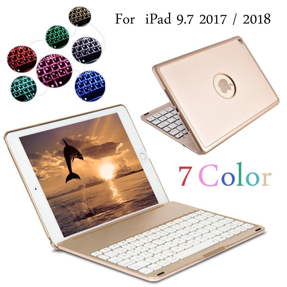 Funda con teclado Bluetooth inalámbrico con luz retroiluminada de 7 colores para iPad 9,7 2017 2018 A1822 A1823 A1893 A1954 + Stylus + Film