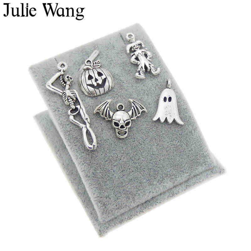 Julie Wang 5 sztuk mieszane Halloween dynia czaszka duch Clown antyczne srebro Charms naszyjnik wisiorek – biżuteria dokonywanie akcesoria