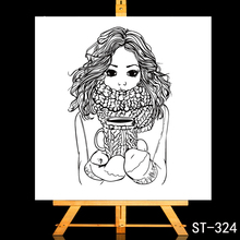 ZhuoAng Cute coffee girl Transparent and Clear Stamp DIY Scrapbooking Album Card Making Decoration