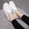 Spring New 2017 Women Causal Shoes Ladies Pu Leather Breathable Flat Shoes Women Flats Loafers Black White Slip On Shoes O2221
