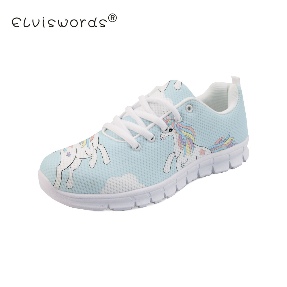 ELVISWORDS Cartoon Unicorn Printed Women Flats Ladies Breathable Sneakers for Girls Kawaii Design Shoes Lace-up Walking Footwear instantarts cute cartoon design women flat shoes dental equipment printed female mesh sneakers casual lace up flats for girls