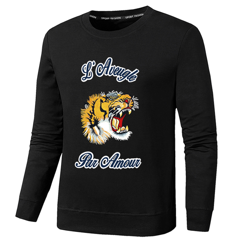 New autumn winter tiger sweatshirts women men long sleeve animal pullover hoodies unisex tiger head embroidery couple hoodie