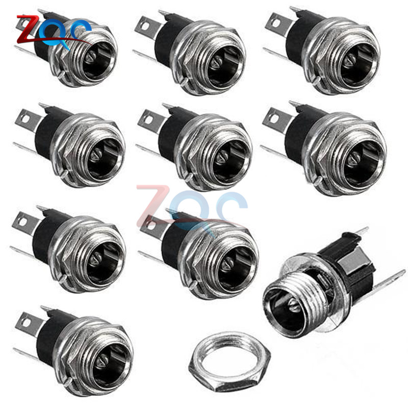 10Pcs 5.5 x 2.1mm DC Power Supply Jack Socket Female Panel Mount 3-Pin Electrical Socket Connector
