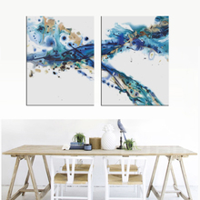 Famous Abstract Paintings Blue 2 Piece Modular Wall for Living Room Modern Art Framework Canvas Hd Printed