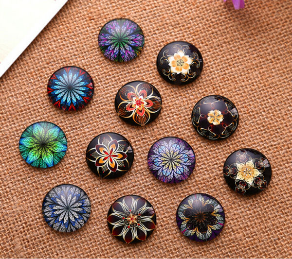 12mm 14mm 16mm 30mm South Korea Pattern Round  Handmade Photo Glass Cabochons & DIY Handmade Cabochon Beads Jewelry Fittings