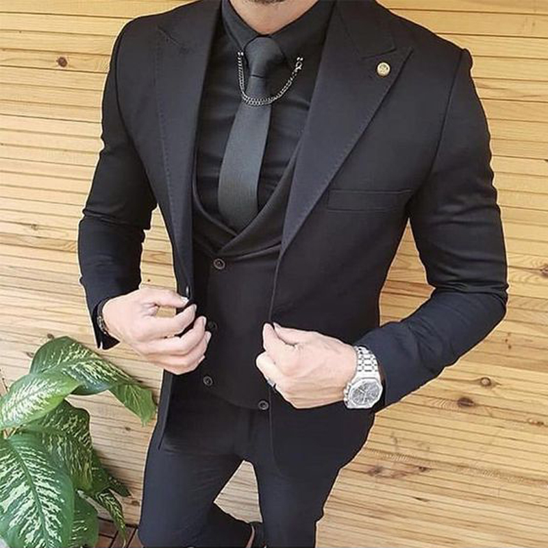 Double-breasted Vest Italian Groom Suits Tuxedos Men Suits For Wedding 3 Pieces Groomsmen Suits Wedding Tuxedo For Man