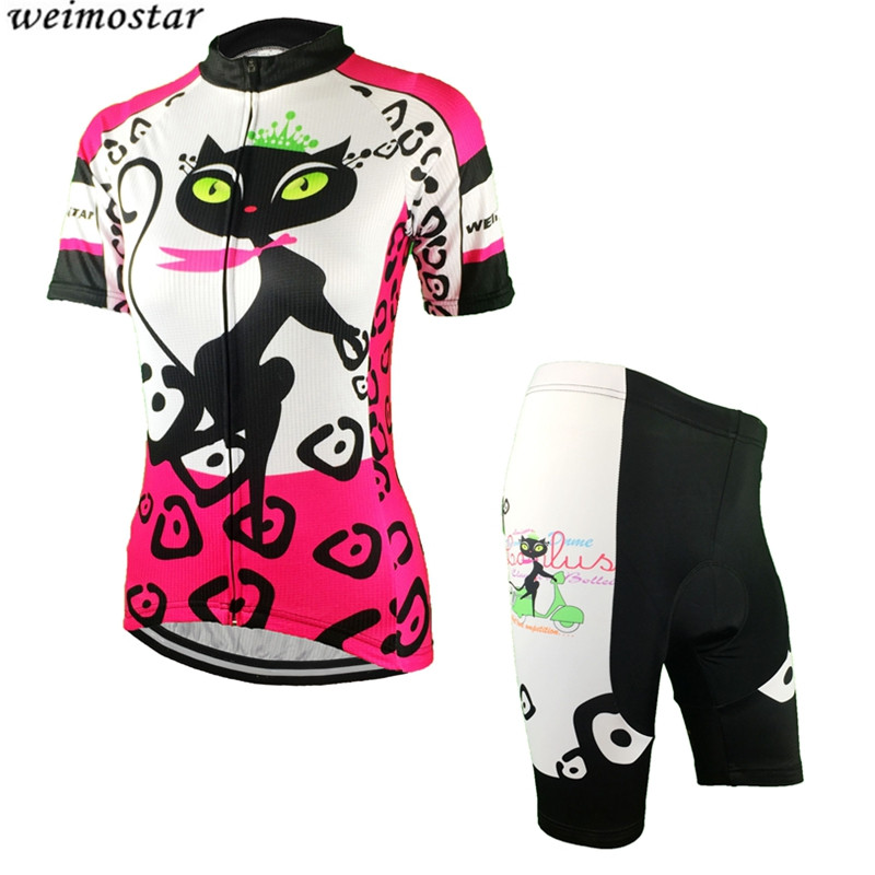 Women  Cats Red Bike Jersey Shorts Sets Pro Girl Cycling Clothing Bicycle Short Sleeve Cycling Top Team MTB wear Ropa Ciclismo veobike men long sleeves hooded waterproof windbreak sunscreen outdoor sport raincoat bike jersey bicycle cycling jacket