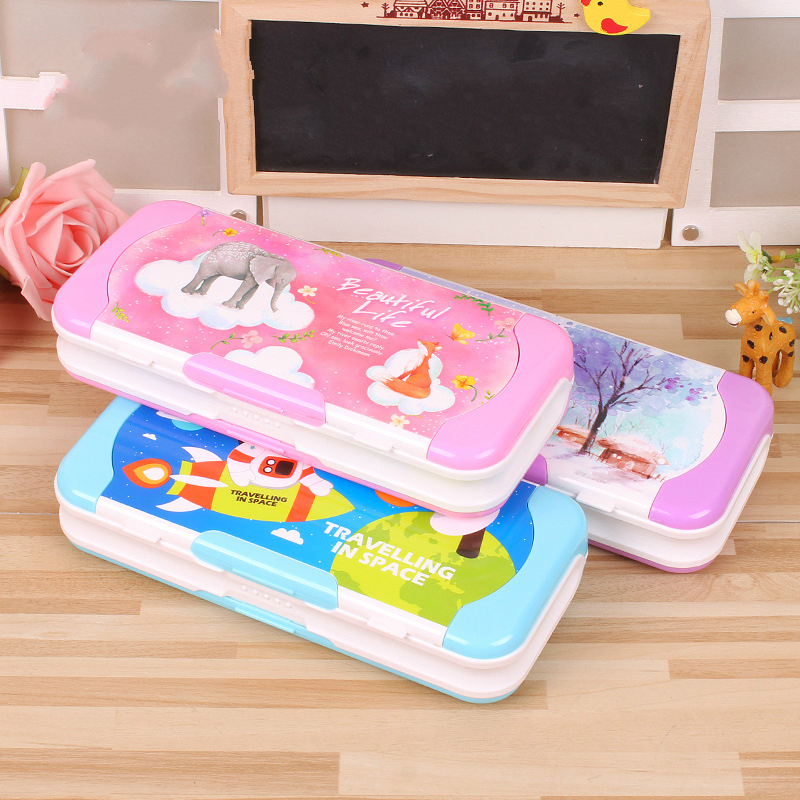Children's Pencil Case Double-sided Pupil Pencil Case Cartoon Creative Pen Box Case to Send Set Ruler for Prize Gift