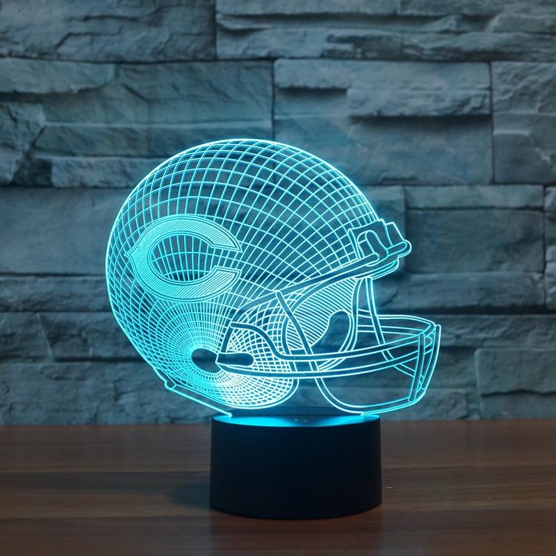 ≧Nuevo fútbol osos 3D Chicago luces colorido táctil LED lámpara de ...