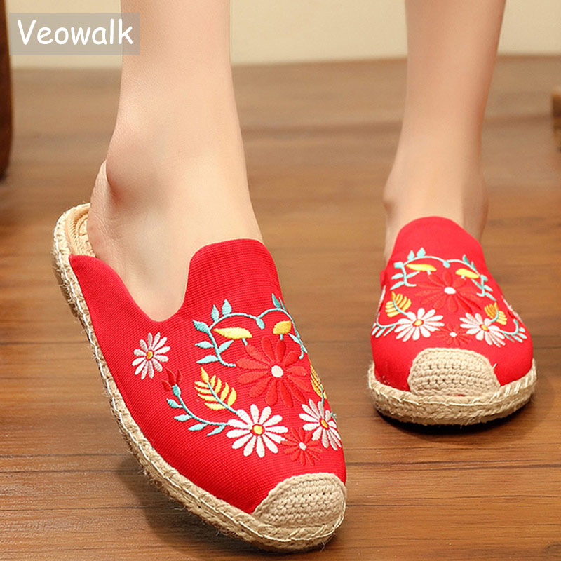 Veowalk Handmade Summer Women Linen Cotton Flat Slippers Bohemia Ladies Comfort Canvas Embroidered Slide Mules espadrilles Shoes