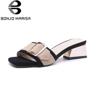 BONJOMARISA Kid Suede Leather Large Size 33 40 Hoof High Heels Metal Decoration Shoes Woman Summer